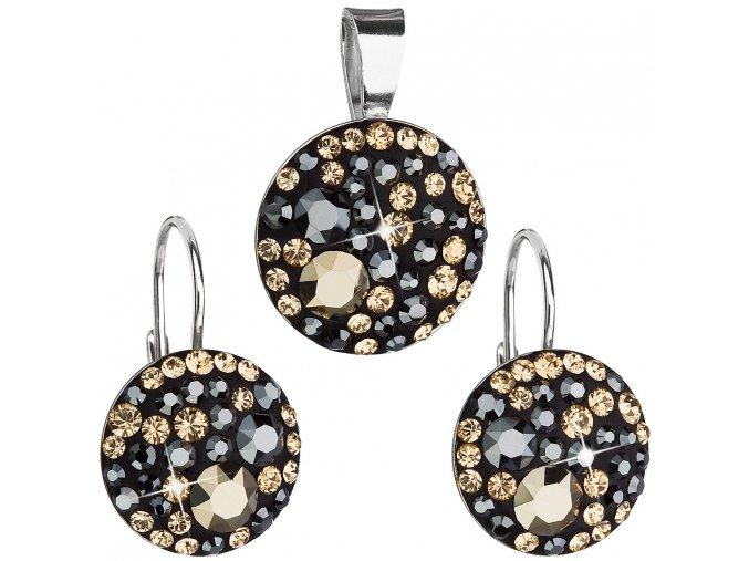 Súprava šperkov so Swarovski Crystals - Colorado - zlatá hnedá čierna