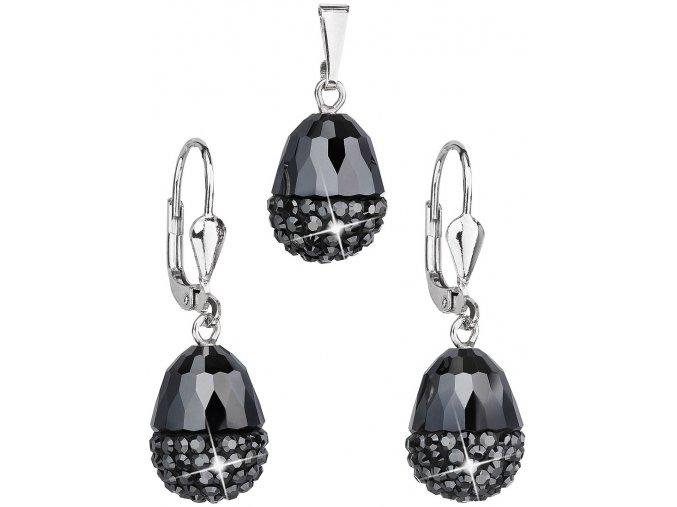 Dámska sada šperkov oválna so Swarovski Crystals Hematit - čierna farba