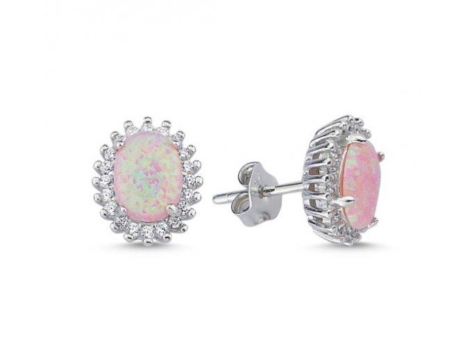 Strieborné náušnice s ružovým opálom