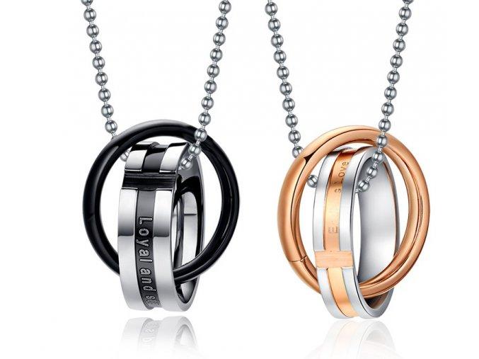 Prívesky pre pár prepletené prstene
