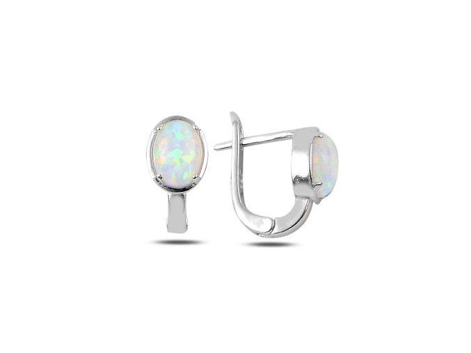 Dámske náušnice s bielym opálom