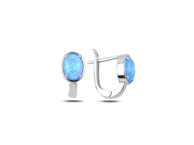 Dámske náušnice s modrým opálom