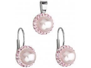 Súprava šperkov s krištálmi Swarovski a bielou perlou