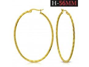 náušnice kruhy 56mm zlatá farba