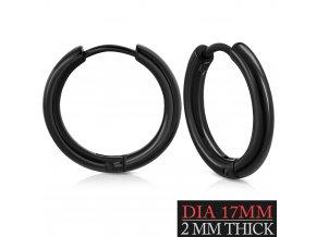 Náušnice kruhy čierna farba 17mm