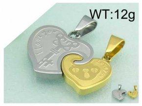 Love prívesok pre páry dvojdielne srdce strieborno zlatá farba