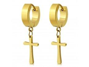 Visiace náušnice s krížikom zlatá farba