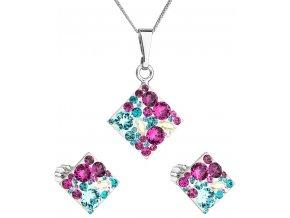 Súprava šperkov so Swarovski Crystals - kosoštvorec tyrkys mix