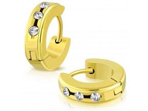 Okrúhle náušnice s 3 zirkónmi zlatá farba