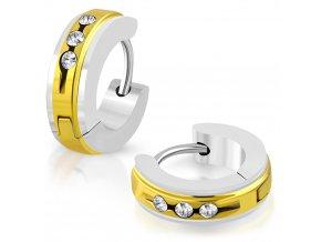 Okrúhle náušnice so zirkónmi strieborno zlatá farba
