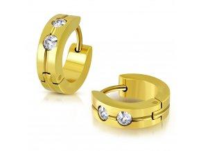 Okrúhle náušnice s dvomi zirkónmi zlatá farba