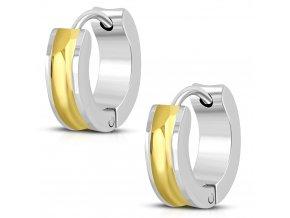 Okrúhle náušnice strieborno zlatá farba (2)