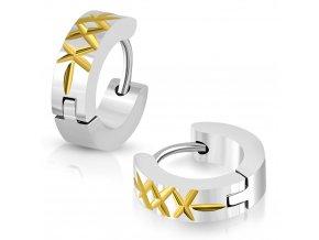 Okrúhle náušnice strieborno zlatá farba s krížikmi