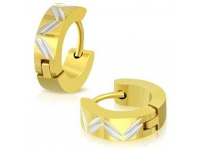 Okrúhle náušnice strieborno zlatá farba (5)