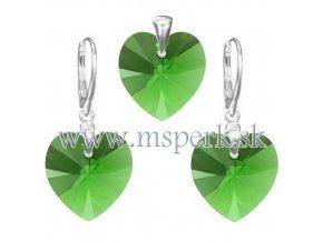 Exkluzívny set SWI crystal v tvare srdca zelená farba