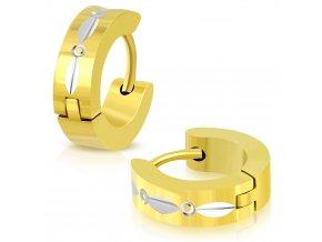 Okrúhle náušnice strieborno zlatá farba so vzorom