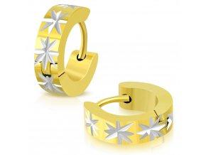 Okrúhle náušnice strieborno zlatá farba s hviezdami