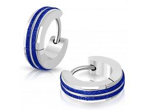 Okrúhle náušnice modro strieborná farba 2 modré pásiky cez stred