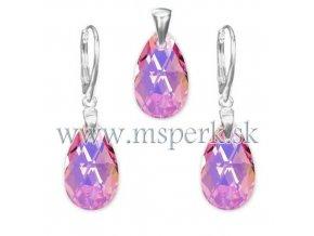 Exkluzívny set SWI crystal v tvare slzy ružová farba