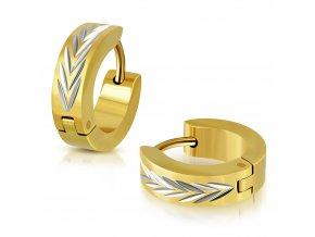 Okrúhle náušnice strieborno zlatá farba vzor písmeno V