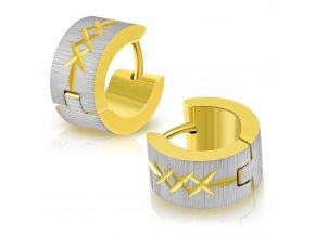 Okrúhle náušnice strieborno zlatá farba s malými krížikmi