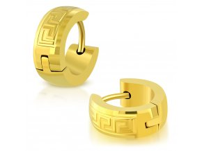 Okrúhle náušnice vzorované zlatá farba