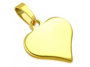 Prívesok z chirurgickej ocele srdiečko zlatej farby (2)