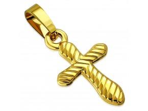 Prívesok z chirurgickej ocele krížik zlatej farby