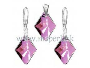 Exkluzívny set SWI crystal v tvare kosoštvorca ružová farba