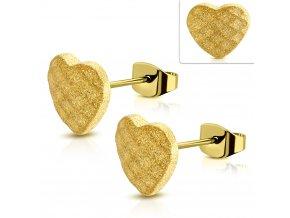 Napichovacie náušnice v tvare srdca zlatá farba