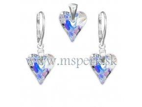 Exkluzívny set SWI crystal v tvare srdca s modrým odleskom