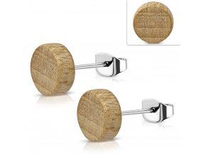Okrúhle napichovacie náušnice drevený vzhľad