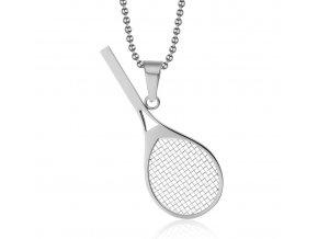 Prívesok tenisová raketa s retiazkou z ocele