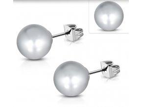 Náušnice perly sivé 8 mm