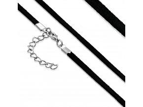 Čierna retiazka z flanelovej tkaniny 62 cm
