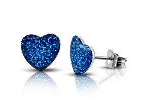 LEB367 Náušnice modré srdce
