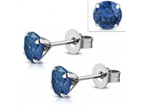Náušnice s modrým zirkónom 7 mm