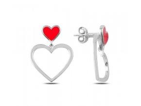 Strieborné náušnice červené srdce  Ag 925/1000 Rh: 2 g