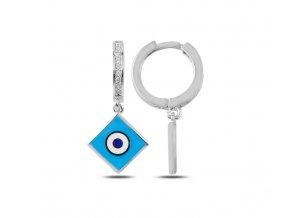 Strieborné dámske náušnice s modrým okom  Ag 925/1000 Rh: 2 g
