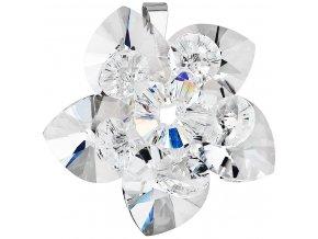 Strieborný prívesok s krištálom Swarovski biela kvetina