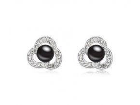 Náušnice s čiernou synt. perlou a zirkónmi
