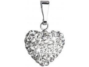 Strieborný prívesok s krištáľmi Swarovski biele srdce
