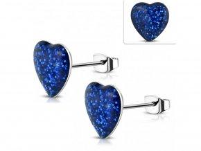 Modré trblietavé náušnice v tvare srdca 7 mm