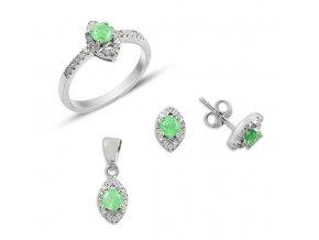 Súprava šperkov so zirkónmi a zeleným