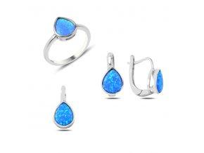 Súprava šperkov s modrým opálom v tvare slzy