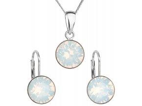 Sada šperkov s krištáľmi Swarovski náušnice, retiazka a prívesok white opal