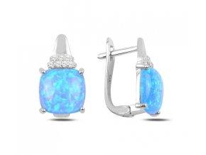 Strieborné dámske náušnice s modrým opálom