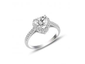 Zásnubný strieborný prsteň so zirkónom v tvare srdca  Ag 925/1000 Rh 2,91 g