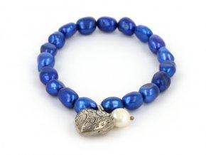 Náramok z farebných riečnych perál so srdiečkom 2