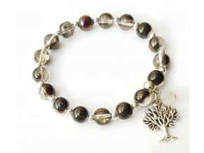 Náramok strom života s krištáľom sivý